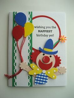 Clown birthday card using mostly StampinUp punches.