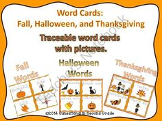 Word Cards: Fall, Halloween, and Thanksgiving (Traceable) from Sunsational~in~Second Grade on TeachersNotebook.com -  (20 pages)  - Word Cards: Fall, Halloween, and Thanksgiving Traceable word cards with pictures representing Fall, Halloween, and Thanksgiving.