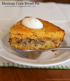 Mexican Cornbread Pie is a one pot dinner that the whole family will love!  by www.whatscookingwithruthie.com #recipes #dinner