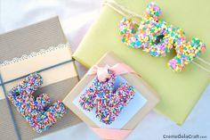 DIY monogram birthday gift toppers from sprinkles