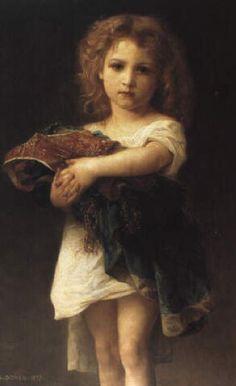 Portrait d'une petite fille en robe blanche.  (Portrait of a little girl in white dress) - Gustave Doyen