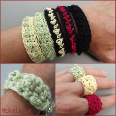 Bead Stitch Bracelet and Ring Pattern - Free crochet pattern from Rhelena at CrochetN'Crafts ❥Teresa Restegui http://www.pinterest.com/teretegui/❥
