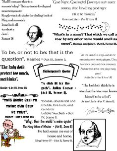 Shakespeare quotations poster  other free printables