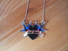 H Swallows True Love Tattoo Necklace Pin-up Rockabilly Rock Alt Retro Sailor