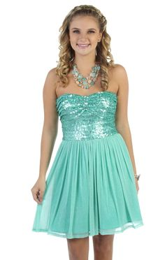 #mint strapless party dress with layered bodice and chiffon a line skirt  $82.50