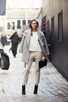 carolin mode, models off duty, sweater, fashion weeks, chic outfits, neutral palette, street styles, london fashion, coat