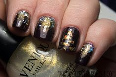 CUTE Christmas tree nail using Venique Holiday collection by Just Add Water