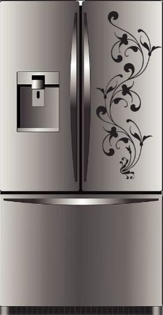 refridgetor  with  decals | Floral Decal Refrigerator Wall Art Decal Vinyl Long Lasting Decals