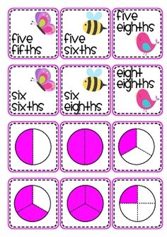 Match fractions, fraction names and fraction pictures in this Spring themed activity. A worksheet is included for extra consolidation. (Fractions included are halves, thirds, fourths, fifths, sixths and eighths.)