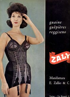60s Italian Lingerie Ad onsie girdle bra all in one style black lace