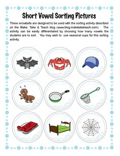 Classroom Freebies: Snowball Vowel Sorting
