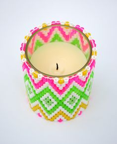 Using peyote stitch and Hama beads, she gives tutorial links and a pattern for a tea light and a votive