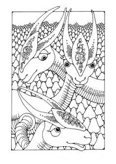 Coloring page fantasy animals