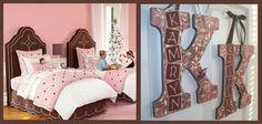 sophia bedroom, lauren bedroom, fabric headboard, bedroom idea, chocolates