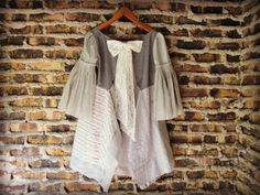 LXL OOAK Neutral Bohemian Tunic Top// Bell Sleeves// by emmevielle, $93.00