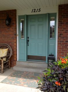 Benjamin Moore, Mill Springs Blue door with brick
