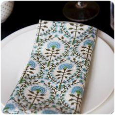 4 serviettes de table Dahlia turquoise Bungalow
