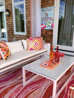 Fashion designer Trina Turk's love of mid-century design inspired the design of the La Jolla outdoor pillow for Frontgate.  | Anne Tarasoff Interiors for Hampton Designer Showhouse 2014
