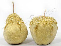Frutta dorata con glitter cm 7 - Christmas Store