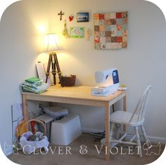 Clover & Violet — Sewing Table    machine on short side?  Longer table for two machines
