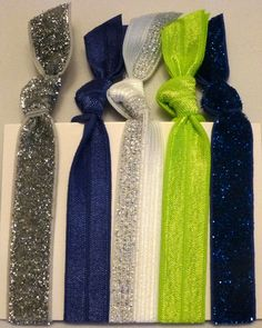 SeaHawks Fans Hair Ties - Sassy Knots | Hair Ties and Headbands $13.00-**Free Shipping for the Holidays  Great gift,Stocking Stuffers. Buy 2 get 1 FREE