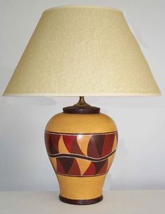 Wave Lamp in Dark Red and Brown on Ochre