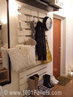 Cool idea, maybe put in our garage to hang all our stuff??!! Shelves Pallets Entrance hang stuff, the doors, pallet walls, garag, mud rooms, laundry rooms, paint, coat racks, entryway