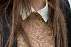 Collared shirts and sweaters.