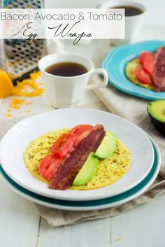 Bacon, Avocado and Tomato Egg White Wraps - Make wraps out of egg for a quick, easy, healthy #breakfast! | Food Faith Fitness| #glutenfree #recipe