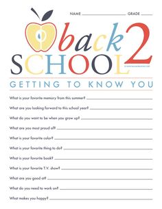Back to School Questionnaire Printable http://www.balancinghome.com