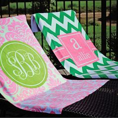 Monogrammed beach towel! Great for shore excursions!