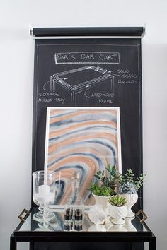 interior, chalkboard paper, bar cart, paper roll