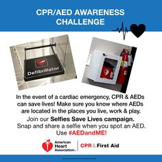 "CHALLENGE: Join ""Selfies Save Lives"" campaign! Snap & share a selfie when you spot an #AED! Use #AEDandME. #CPR pic.twitter.com/aJgYbYBgVv"
