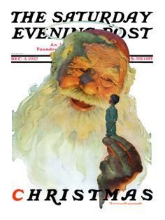 """""""Christmas, 1927"""" (King Kong Santa) by Norman Rockwell. Issue: December 3, 1927. ©SEPS. Giclee print available at Art.com."""