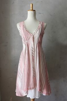 Cotton Stripes in Red - Cotton sundress with full draped skirt