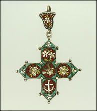 Victorian 1870-1880 Micro- Mosaic Silver Dove Anchor Pendant