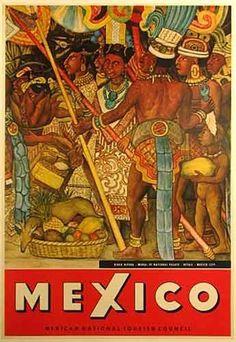1950's Diego Rivera Murals Vintage Mexico Travel Poster - Artist: Diego Rivera