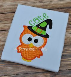 Halloween Owl Applique Shirt by APersonalThing on Etsy, $16.00