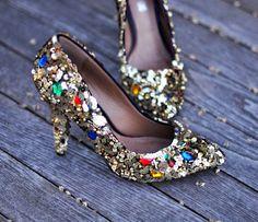Embellished Heels - Creative DIY Shoes Decorating Ideas, http://hative.com/creative-diy-shoes-decorating-ideas/,