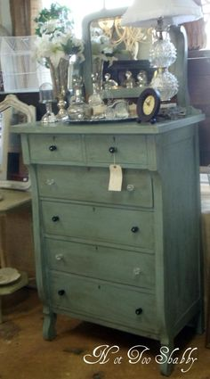 Empire style dresser painted Annie Sloan Chalk Paint™ Duck Egg with clear & dark wax