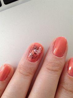 Peach butterfly nail art. #nails #nailart #nailpolish #manicure