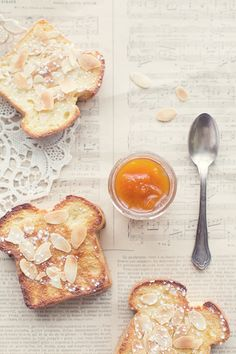 Sweet toast + jam + almonds