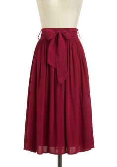 Tea and a Candle Skirt - Long, Red, Solid, Bows, Work