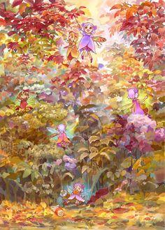 The fairies' work in autumn by efira-japan.deviantart.com