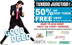 50% OFF PROM TUXEDO'S with coupon... we will even through in the vest for FREE! www.tuxedojunction.com