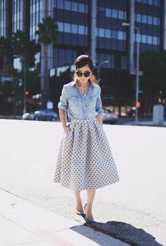 Polka Dot Midi Skirt and chambray