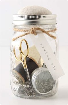 sewing kit from mason-style jar. cutest.