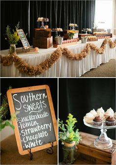 DIY rustic wedding dessert table