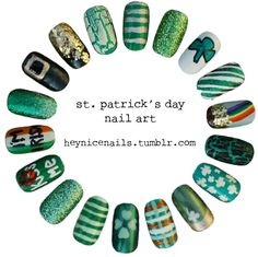 St. Patrick's day nails... I allow myself to do this and have crazy nails even if for one day :-) inspiration, holiday nails, saint patricks day, nail designs, nail arts, st patricks day, st patti, nail idea, stpatrick