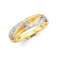 Striped 14K Two Tone Gold Womens Wedding Ring